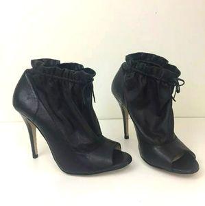 Boutique 9 Womens 7 Black Peep Toe Leather Heels